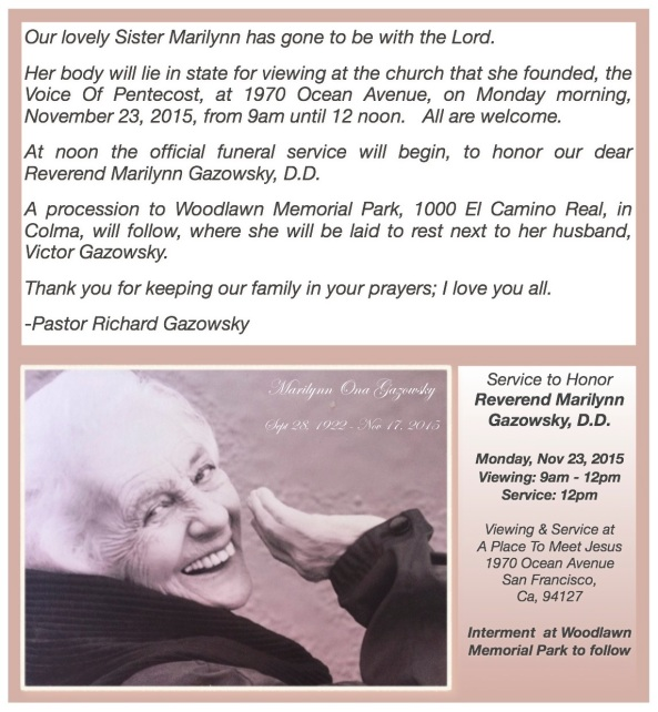 Sister marilynn announcement